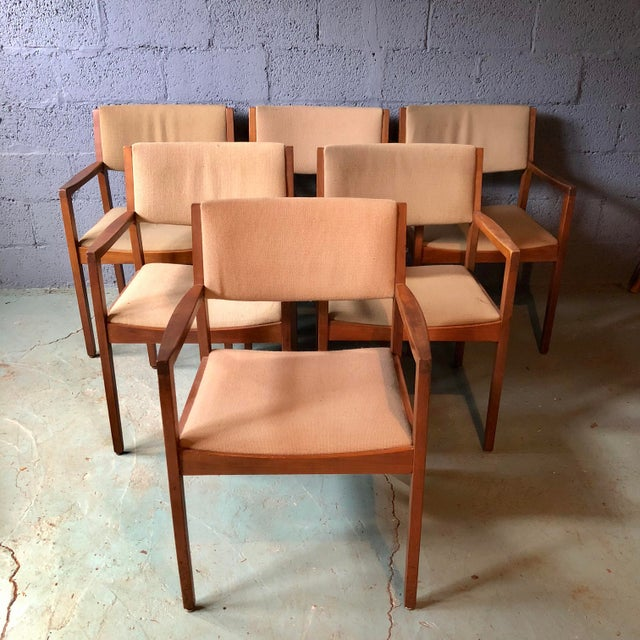Mid Century Modern Walnut Dining Armchairs- Set of 6 For Sale - Image 13 of 13