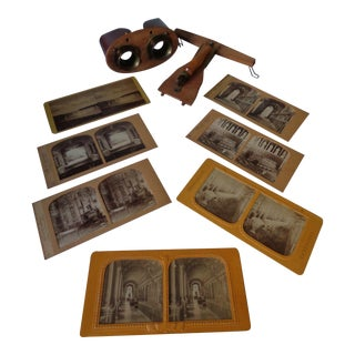 Antique Stereoscope Viewer With 7 Slides For Sale