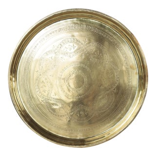 Vintage Moroccan Heavy Weight Brass Tea Tray For Sale