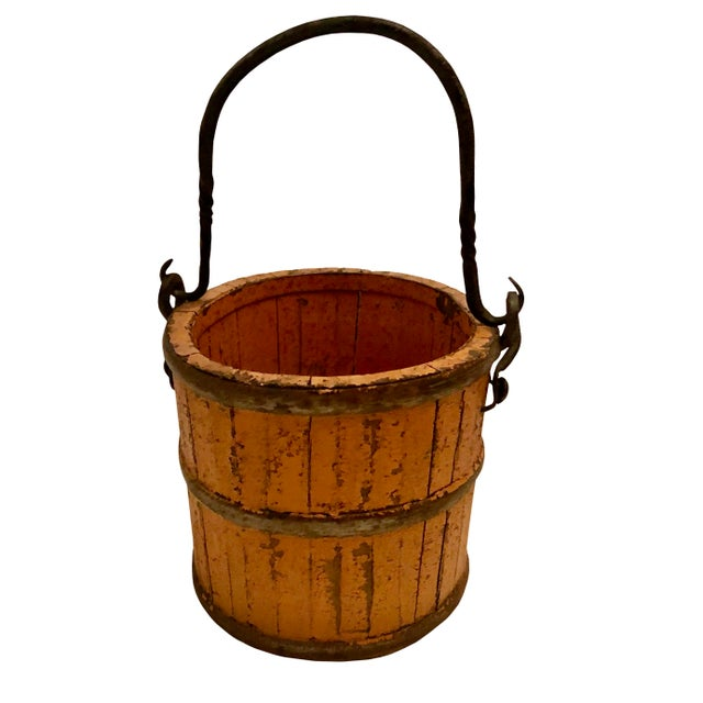 Metal 19th Century French Wood and Iron Pail For Sale - Image 7 of 7