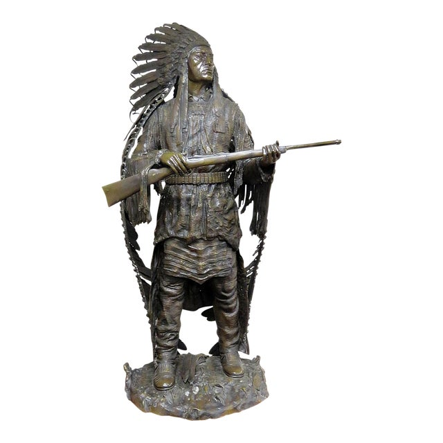 Bronze Indian Sculpture Signed Carl Kauba For Sale