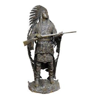 Signed Carl Kauba Bronze Indian Sculpture For Sale