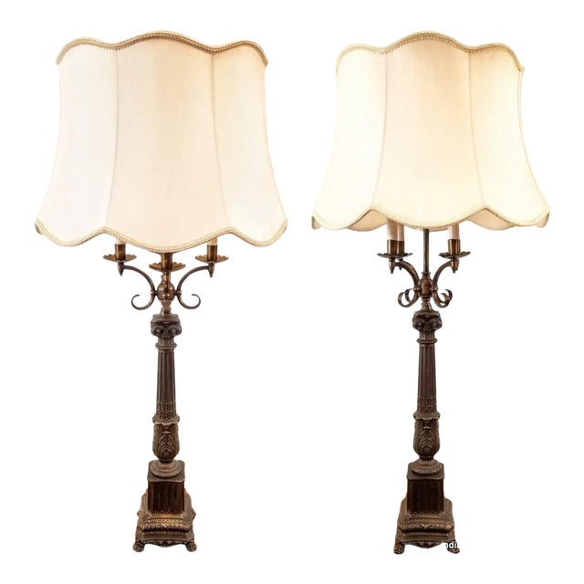 Pair Vintage 1920s French Empire Style Candelabra Table Lamps For Sale