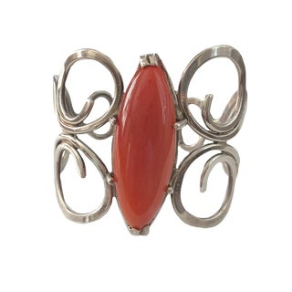 Sterling Silver and Carnelian Cuff Bracelet For Sale