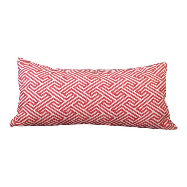 Flamingo Orange Graphic Geometric Kidney Pillow Cover For Sale