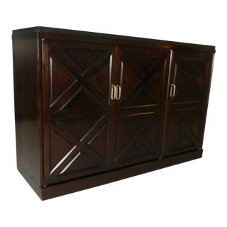 1960s Mid-Century Modern Slate Top Mahogany Credenza Cabinet For Sale