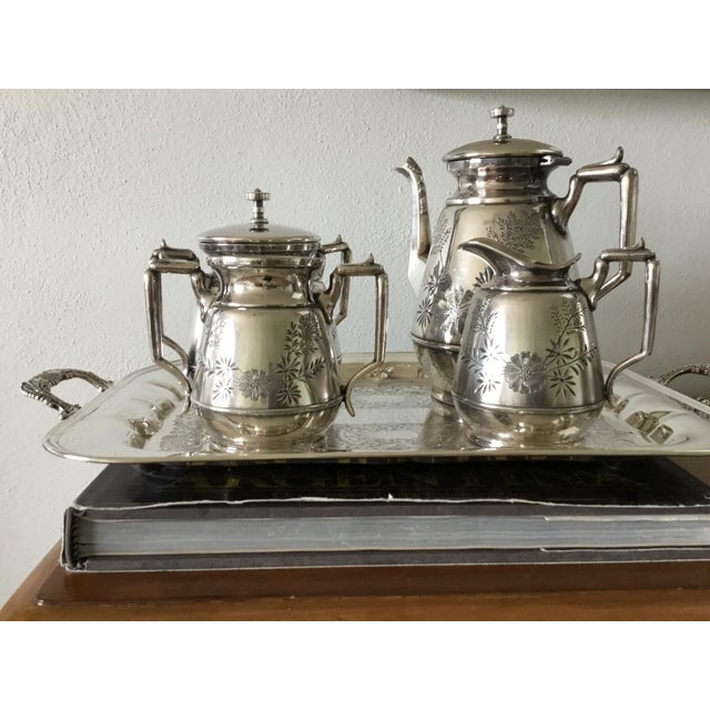 Meriden Silver Plate Co. Meriden B Company Silver Plated Tea Set For Sale - Image 4 of 6
