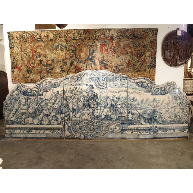 Monumental 3-Piece 18th Century Azulejo Mural Panel From Portugal For Sale - Image 10 of 13
