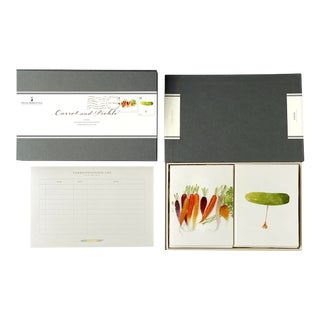 """Carrot and Pickle"" - Couplet Boxed Stationery - Folded Card Pair - Set of 10 For Sale"