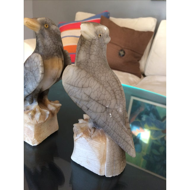 Carved Alabaster Eagle Bookends - A Pair - Image 7 of 10