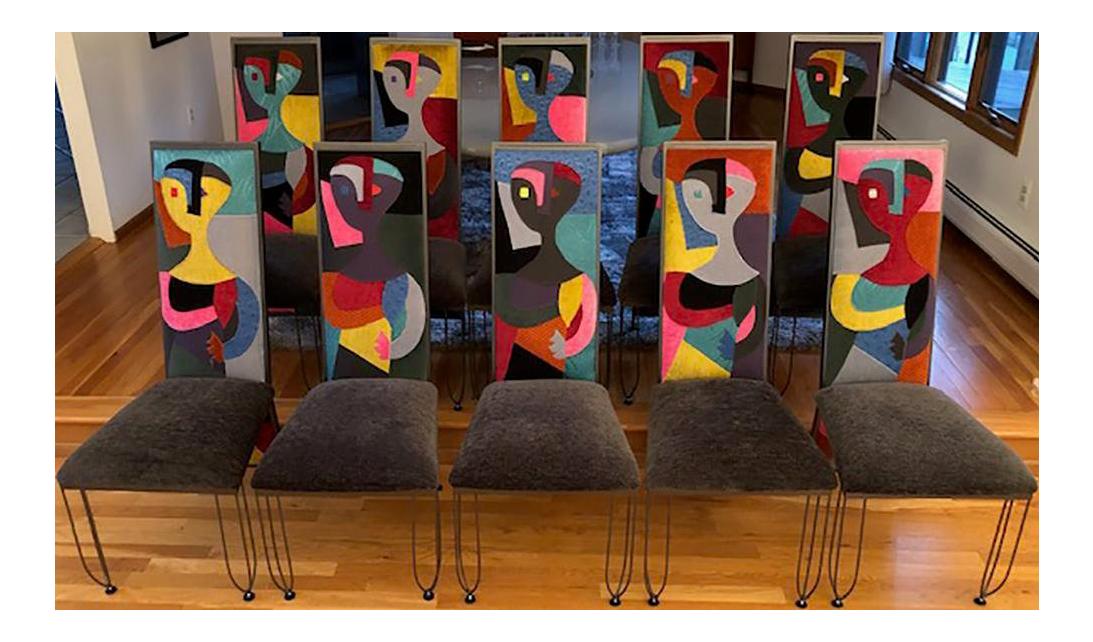 Set of 10 custom post modern high back italian dining chairs chairish