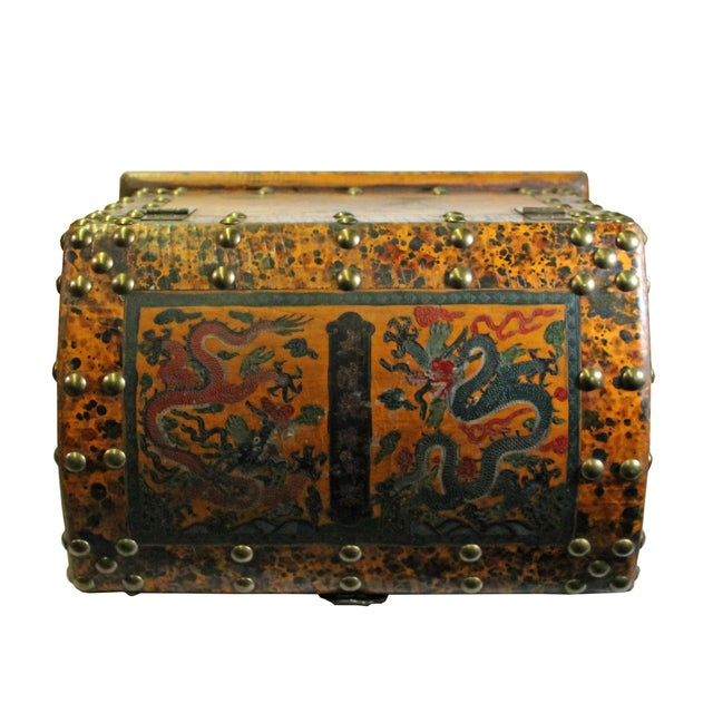Chinese Distressed Yellow Red Dragon Graphic Trunk Box Chest For Sale - Image 4 of 9