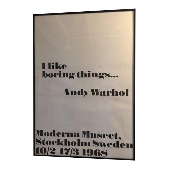 """Mid-Century Modern """"I Like Boring Things"""" Pop Art Print Poster by Andy Warhol For Sale - Image 3 of 3"""