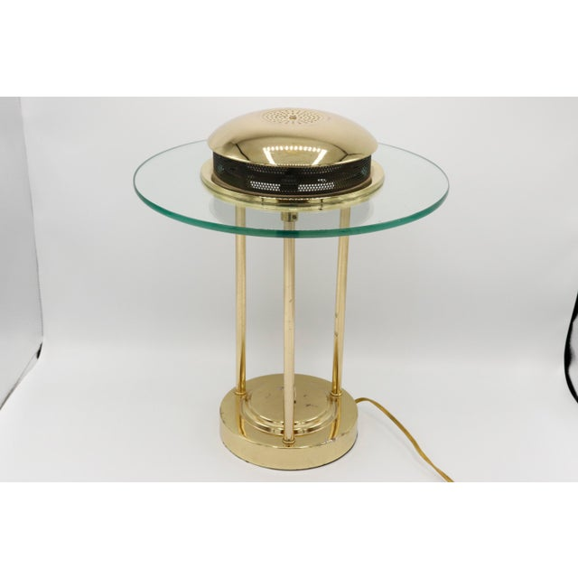 1970s 1970s Italian Mid Century Polished Brass and Glass Table Lamp With a Dimmer Switch For Sale - Image 5 of 9