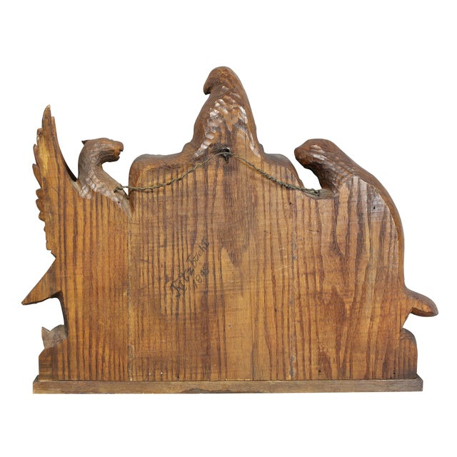 Wood German Carved Oak Coat of Arms For Sale - Image 7 of 9