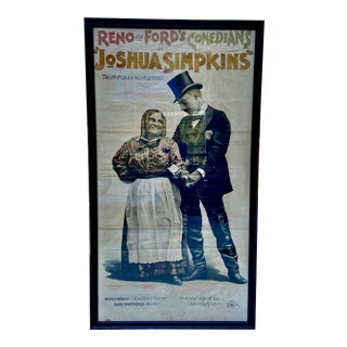 """Original 1890s Large Scale Framed Theater Poster """"Joshua Simpkins"""" For Sale"""