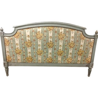 19th Century French Louis XVI Style Painted Upholstered Headboard With Side Rails For Sale