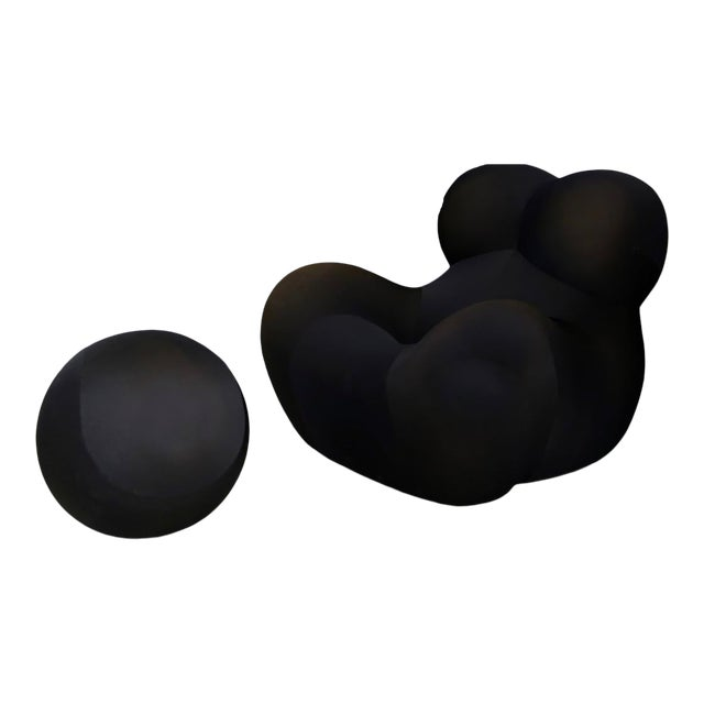 Gaetano Pesce for B&b Italia Up5 Black Lounge Chair and Ottoman, Restored 1970s For Sale
