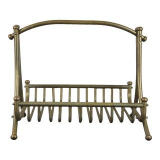 Late 19th Century Antique Victorian Brass Firewood Log Holder / Magazine Rack For Sale