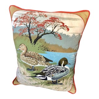 Mid Century Quilted Pintail Duck Pillow For Sale
