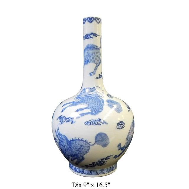 Blue & White Porcelain Kirin Tall Neck Vase For Sale - Image 7 of 7