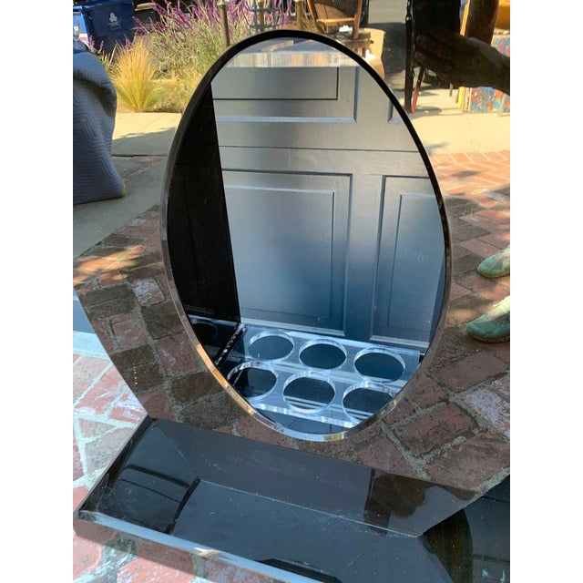 Custom vintage black lucite light up bar console or cocktail console