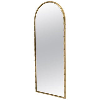 Dome Shape Metal Frame Faux Bamboo Mirror For Sale