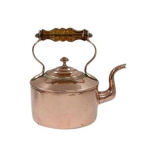 Antique Glass Handle Copper Kettle