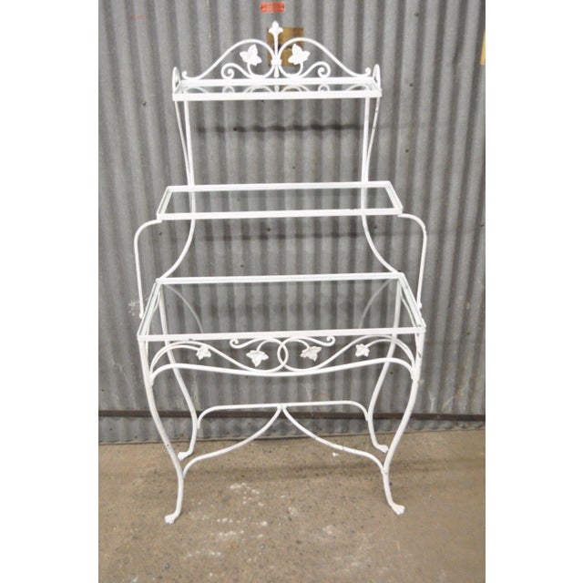 Item: Vintage Wrought Iron French Country Style Rack Believed to by Salterini in the Mt. Vernon Pattern Details: 3 Glass...
