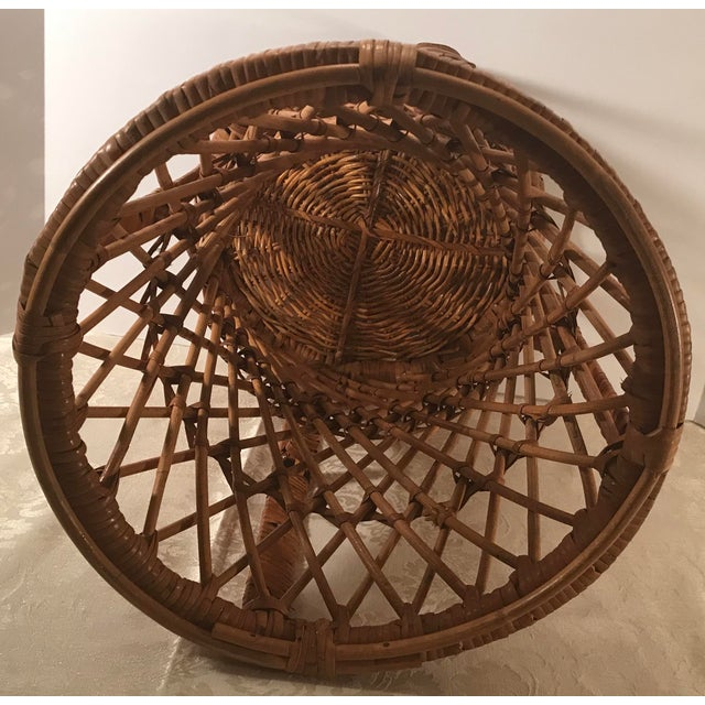 Wicker Vintage Mid-Century Modern Wicker Stool or Plant Stand For Sale - Image 7 of 8