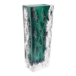 Rectangular German Modernist Crystal Vase For Sale