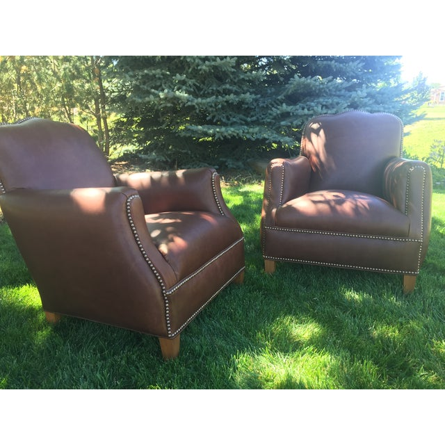 2010s Distressed Leather Chairs - A Pair For Sale - Image 5 of 11