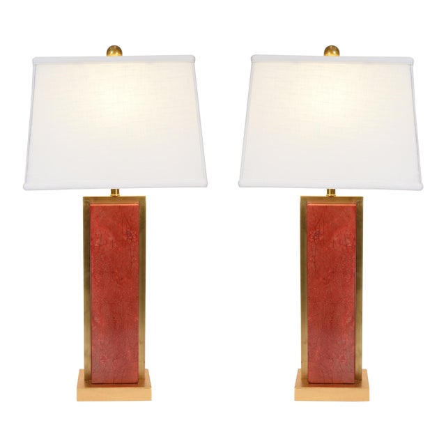 Orange Jade Table / Task Lamps With Brass Accents - a Pair For Sale