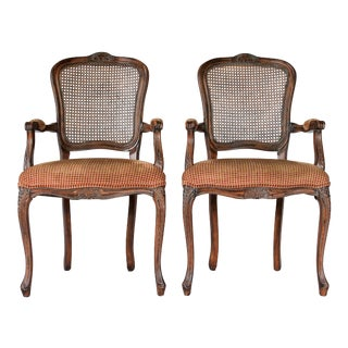 Pair of Caned Fauteuils For Sale