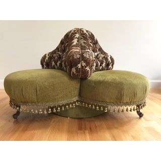 Vintage French Louis XVI Style Tufted Round Settee in Kravet Upholstery Preview
