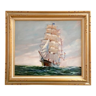 1960s Vintage Clipper Ship Oil Painting For Sale
