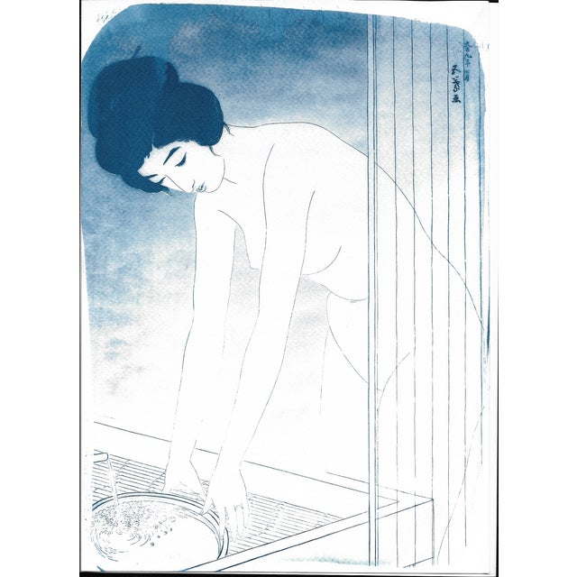 Cyanotype Print - Japanese Ukiyo-E Woman Bathing - Image 1 of 4