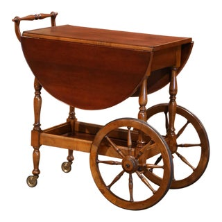 French Walnut Drop-Leaf Tea Trolley Service Cart on Wheels For Sale
