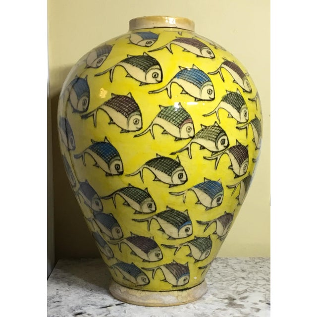 1960s Contemporary Persian Yellow Ceramic Fish Vase For Sale In Miami - Image 6 of 10