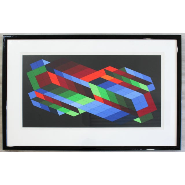 Contemporary Framed Op Art Lithograph Vasarely the Door 23/25 1980 For Sale In Detroit - Image 6 of 6