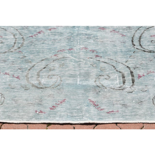 Antique Muted Handmade Boho Chic Wool Area Rug - 4′3″ × 8′2″ For Sale - Image 4 of 6