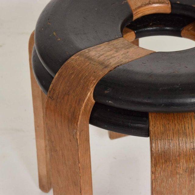 Mid-Century Modern Pair of Vintage Donut Stools by Rud Thygesen & J Sorensen For Sale - Image 9 of 11