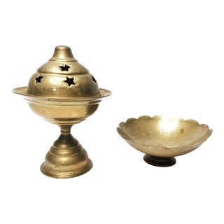 1960s Hollywood Regency Brass Pedestal Incense Burner - 2 Pieces For Sale