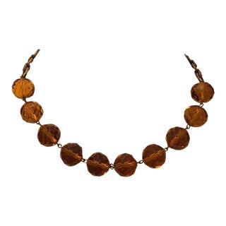 Necklace 1930s Vintage Marked Regina Fashions Amber Topaz Faceted Glass Bead For Sale