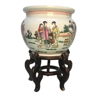 Vintage Asian Ceramic Jardiniere Planter on Stand For Sale