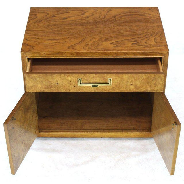 Light Burl Wood Campaign Nightstands Bed Tables Brass Hardware - A Pair For Sale - Image 12 of 13