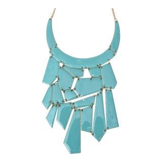 Turquoise Enamel Bibb Necklace For Sale