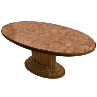 Grosfeld House Oval Marble Top Cocktail Table For Sale
