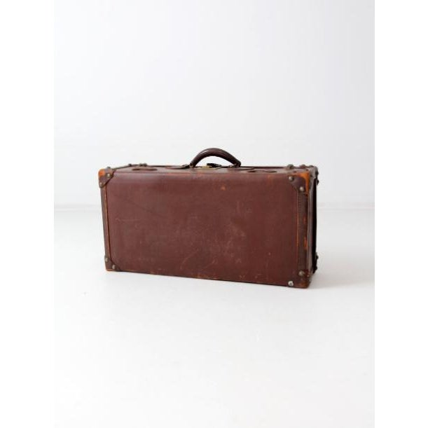 Leather Vintage Brown Leather Suitcase For Sale - Image 7 of 8