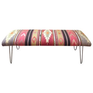 Turkish Kilim Bench in Sunrise Fabric